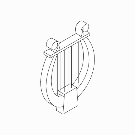philharmonic: Lyre icon in isometric 3d style isolated on white background