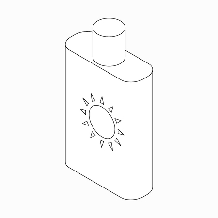 sunblock: Sunblock lotion icon in isometric 3d style isolated on white background
