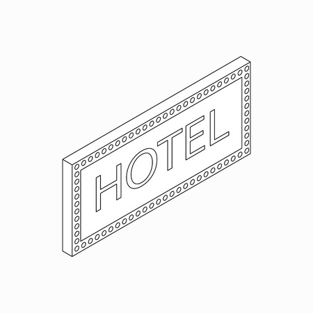 Hotel sign icon in isometric 3d style isolated on white background Illustration