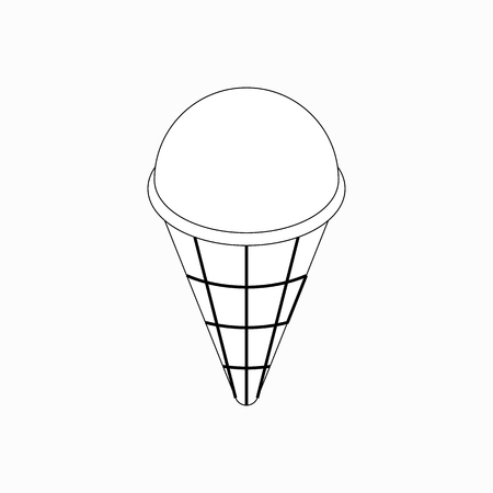 cashews: Ice cream in a waffle cup icon in isometric 3d style isolated on white background Illustration