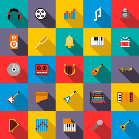 disk jockey: Music Icons set in flat style for any design Illustration