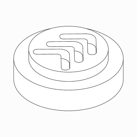 exclusion: Exclusion triple modern arrow icon on round pad in isometric 3d style isolated on white background Illustration