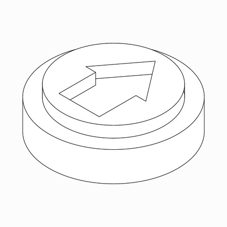 exclusion: Exclusion wide classic arrow icon on round pad in isometric 3d style isolated on white background