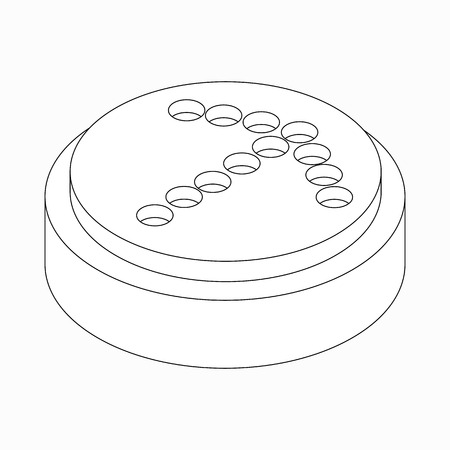 exclusion: Exclusion dots arrow icon on round pad in isometric 3d style isolated on white background