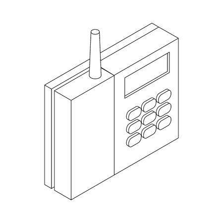 caller: Radiotelephone icon in isometric 3d style on a white background