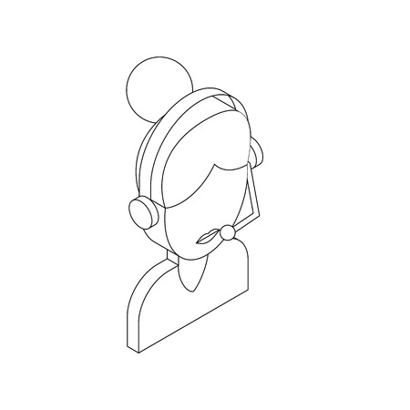 call centre girl: Female customer support operator with headset icon in isometric 3d style on a white background