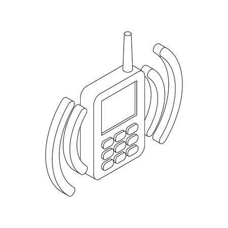 Icona radio portatile palmare in stile 3d isometrico su sfondo bianco Archivio Fotografico - 56084989