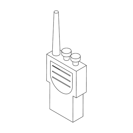 Portable handheld radio icon in isometric 3d style on a white background