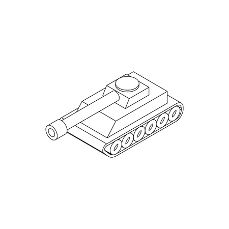 iron defense: Tank icon in isometric 3d style on a white background