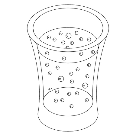 carbonated: Glass of carbonated drink icon in isometric 3d style on a white background