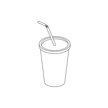 soda splash: A soft drink in paper cup with lid and straw icon in isometric 3d style on a white background