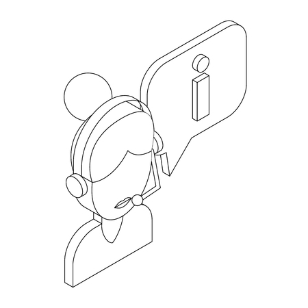 handsfree: Female consultant and speech bubble with I letter icon in isometric 3d style on a white background Illustration