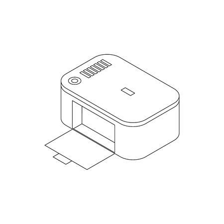 photo printer: Photo printer icon in isometric 3d style on a white background Illustration