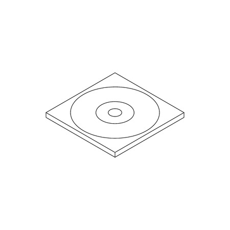 dvd case: Blank compact disc in a case icon in isometric 3d style on a white background