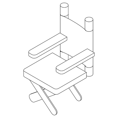 folding screens: Cinema director chair icon in isometric 3d style on a white background