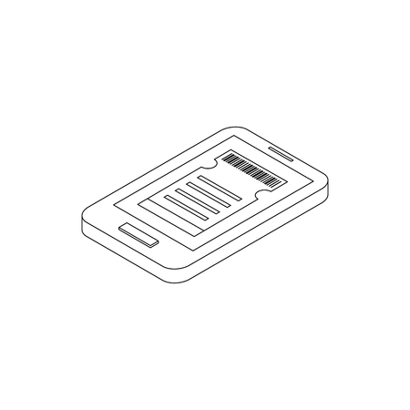 cinema screen: Smartphone with cinema tickets on the screen icon in isometric 3d style on a white background