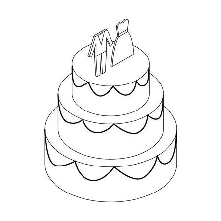 tier: Wedding cake with figurines of  bride and groom icon in isometric 3d style on a white background
