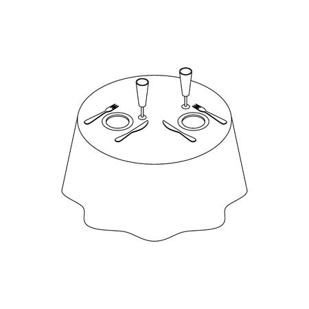 wedding table setting: Table set for two persons icon in isometric 3d style on a white background