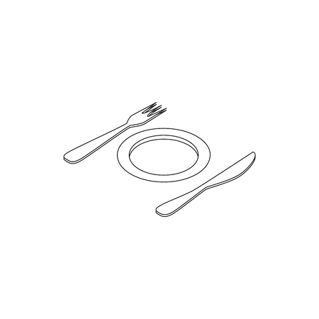 formal place setting: Plate and cutlery icon in isometric 3d style on a white background