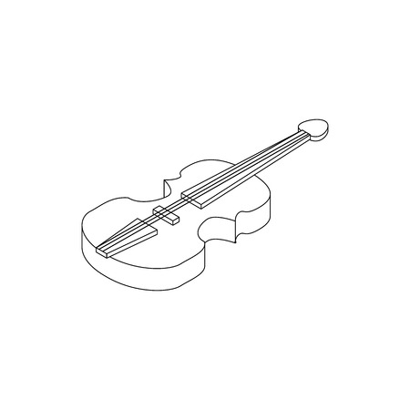 concerto: Violin icon in isometric 3d style on a white background Illustration