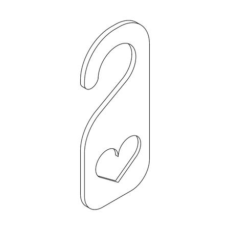 door hanger: Door hanger with heart icon in isometric 3d style on a white background