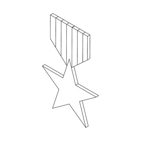 communistic: Order with star icon in isometric 3d style on a white background Illustration