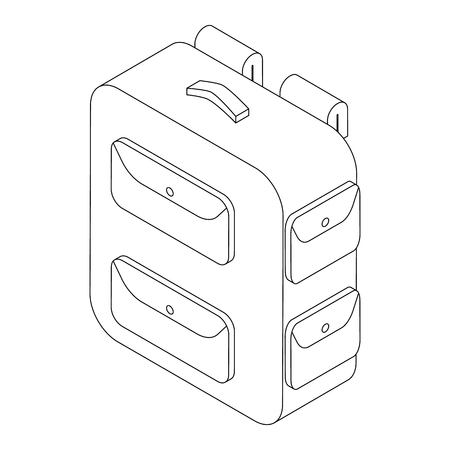 Military backpack icon in isometric 3d style on a white background