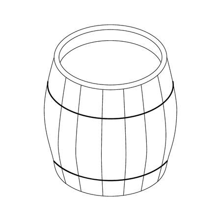 distillery: Beer barrel icon in isometric 3d style on a white background Illustration
