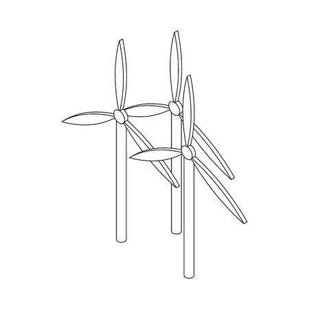 windfarm: Windmills for electric power production icon in isometric 3d style on a white background