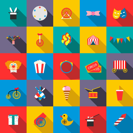 circus caravan: Circus Icons set in flat style for any design Illustration