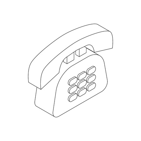 parley: Office phone icon in isometric 3d style on a white background
