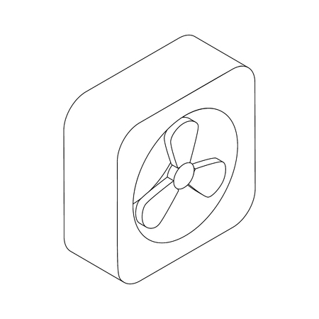 aeration: Exhaust fan icon in isometric 3d style isolated on white background
