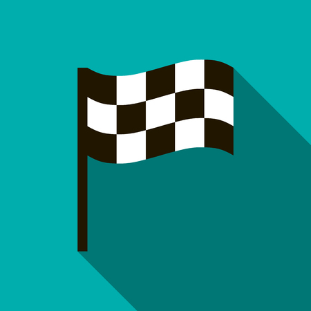 chequered flag: Chequered flag icon in flat style on a blue background