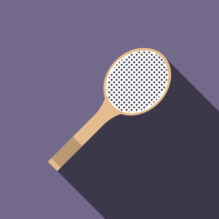 racquet: Tennis racquet icon in flat style on a violet background Illustration