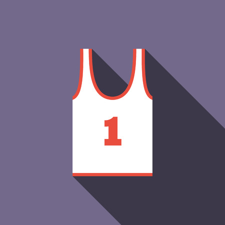 tank top: White tank top with number one icon in flat style on a violet background