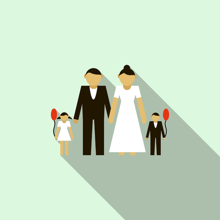 Wedding couple with children icon in flat style on a light blue background Illustration
