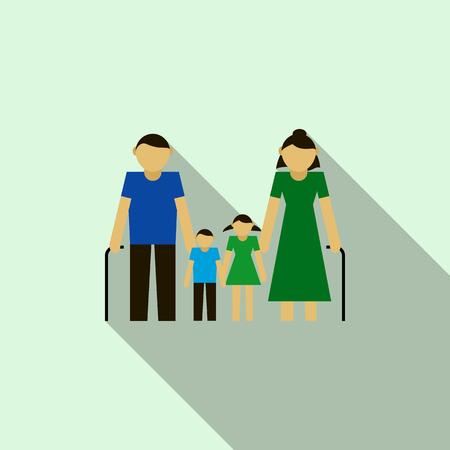 grandchildren: Grandparents with their grandchildren icon in flat style on a light blue background Illustration