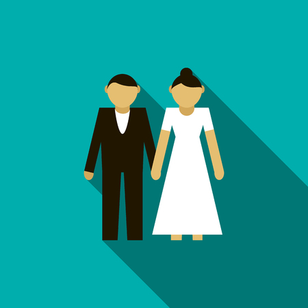 father of the bride: Wedding couple icon in flat style on a blue background Illustration