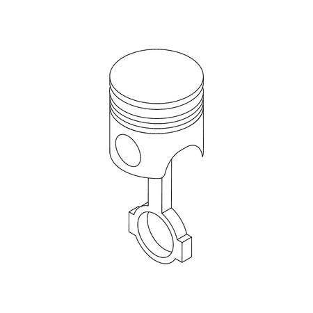 Pistón y conexión icono de conjunto de la varilla en estilo isométrica 3d aislado en el fondo blanco