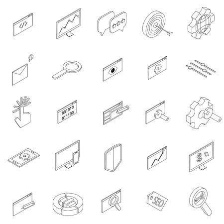 web marketing: SEO icons set in isometric 3d style isolated on white background Illustration