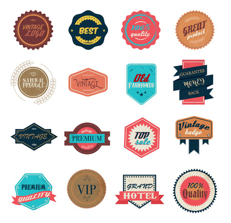 schoolbook: Vintage labels set isolated on white background