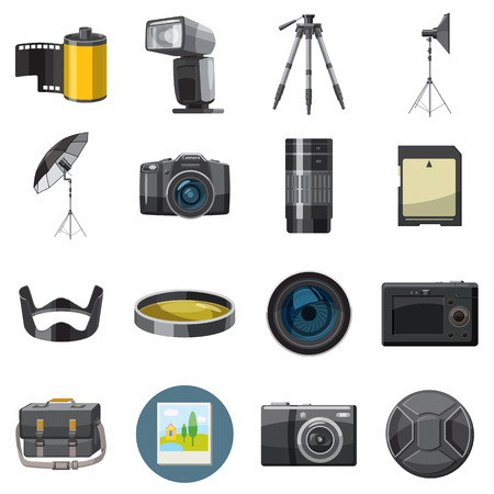 catoon: Photo icons set in catoon style isolated on white background