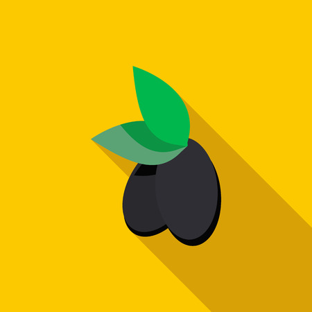 agricultura: Olives icon in flat style with long shadow