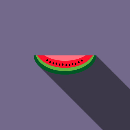 watermelon slice: Watermelon slice icon in flat style with long shadow