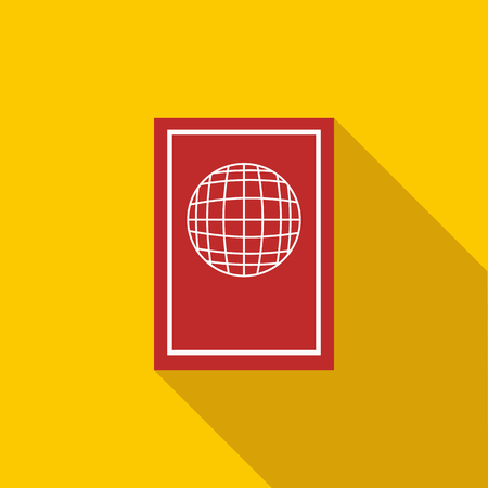 citizenship: Passport icon in flat style with long shadow. Document and citizenship sign