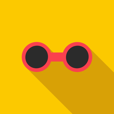 spectacle frame: Sunglasses icon in flat style with long shadow. Sun protection symbol Illustration
