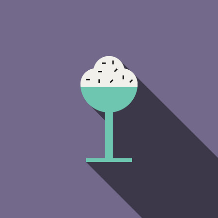 summer heat: Ice cream in a glass icon in flat style with long shadow. Summer heat and food symbol