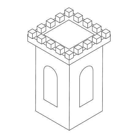 silhouette maison: Tour du château icône, style 3d isométrique isolé sur fond blanc. Noir illustration