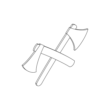 mattock: 2 crossed axe icon in isometric 3d style isolated on white background Illustration