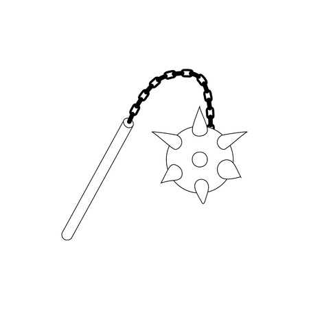 mace: Medieval mace icon in isometric 3d style isolated on white background